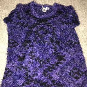 Blue with black fuzzy sweater